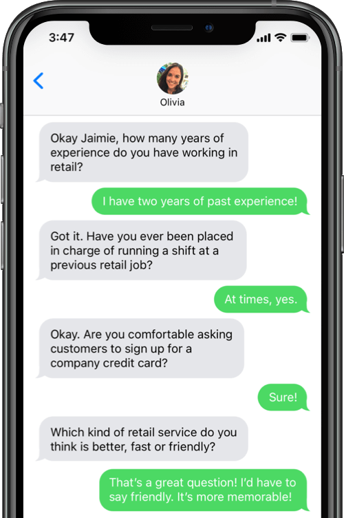Conduct interviews with job candidates through AI recruiting assistant Olivia from Paradox