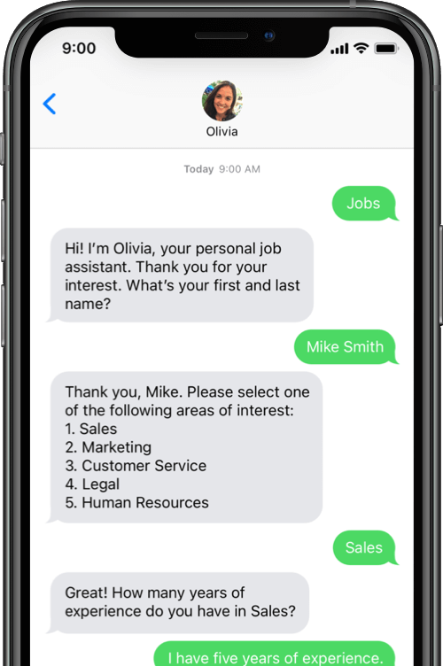 Get initial information from candidates through AI job assistant Olivia from Paradox