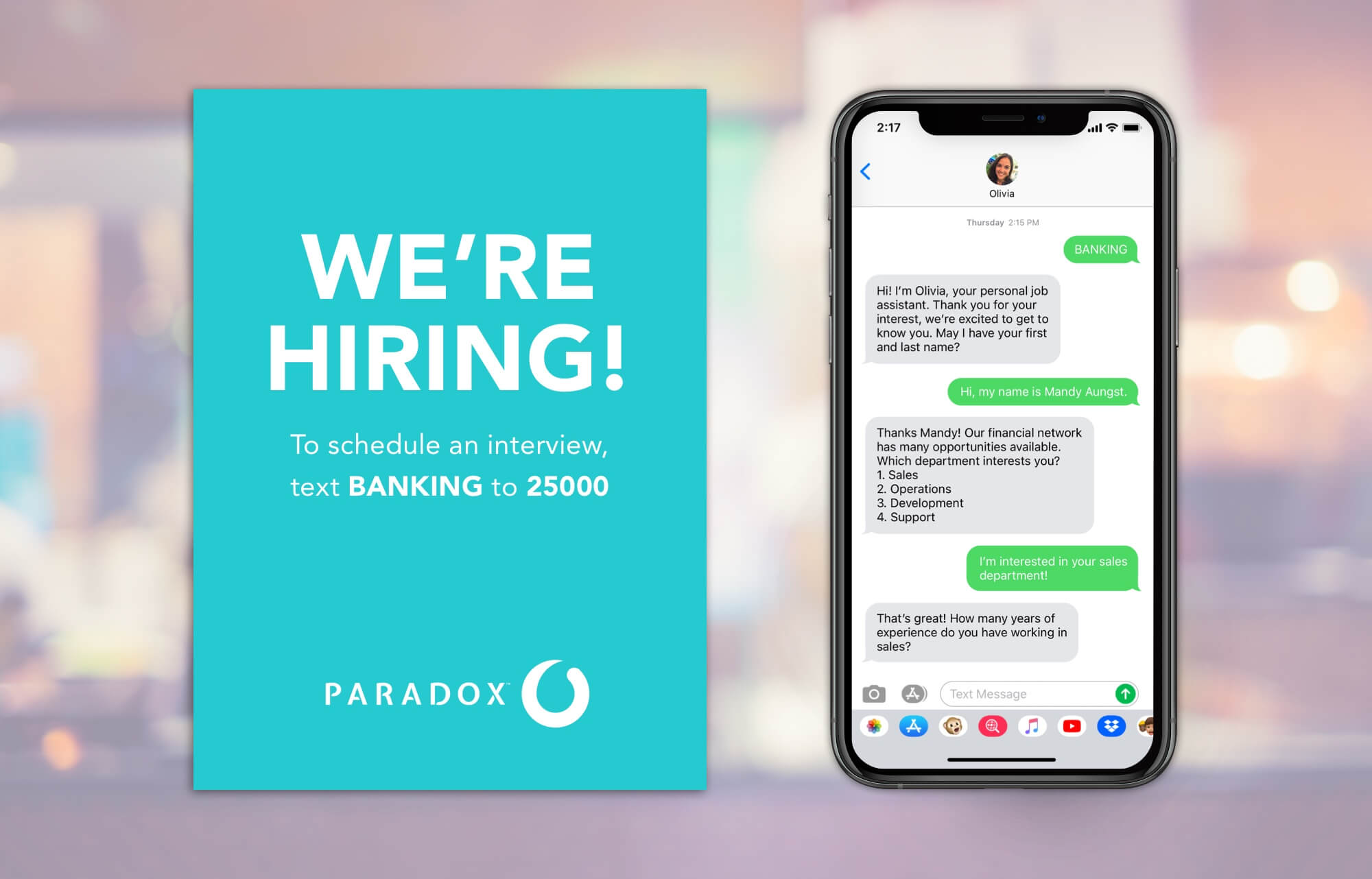 Schedule interviews with job candidates for financial positions through AI recruiting assistant Olivia from Paradox