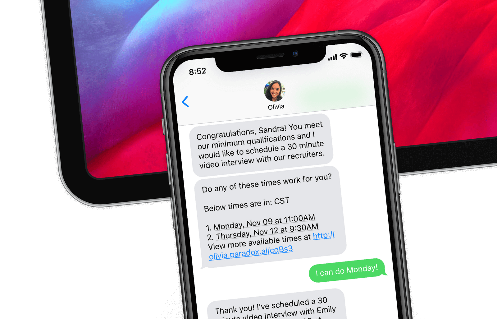 Schedule job candidate interviews through text messages by using AI recruiting assistant Olivia from Paradox