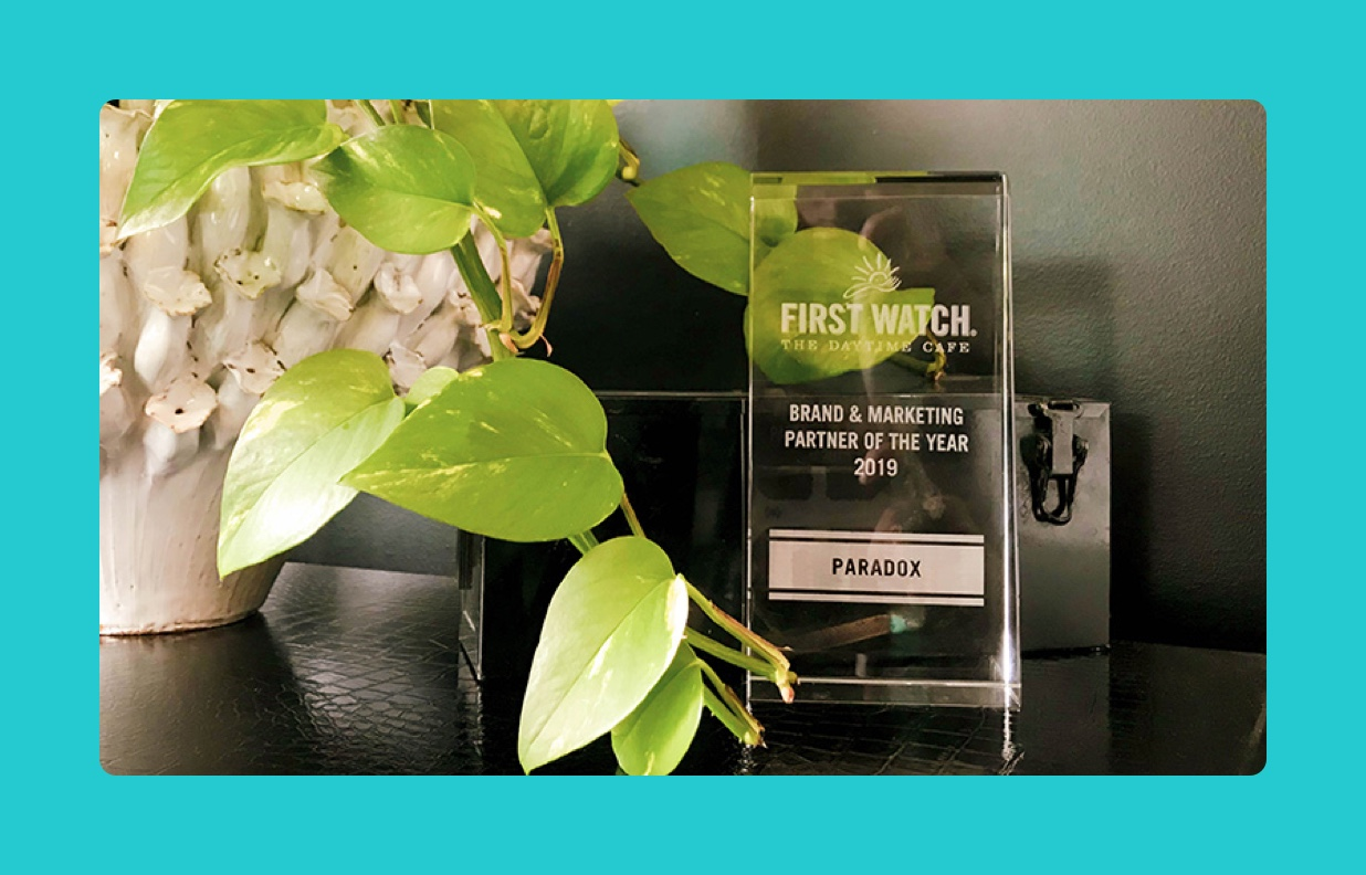 Paradox Recognized as Brand Partner of the Year by First Watch Restaurants