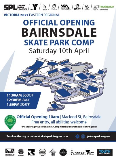 Official opening Bairnsdale Skate Park Saturday 10 April at 10am