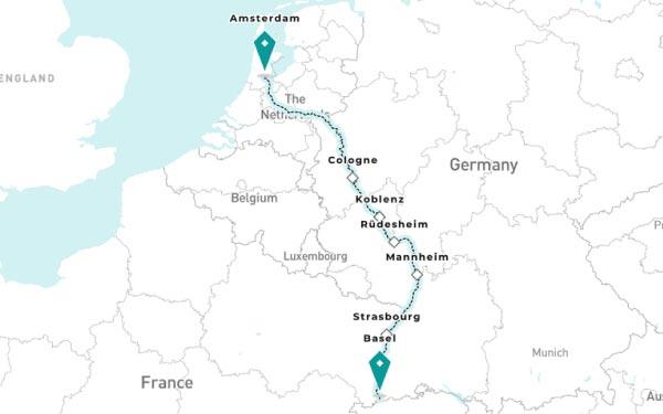 BASEL - STRASBOURG - MANNHEIM - RUDESHEIM AM RHEIN - KOBLENZ - COLOGNE - AMSTERDAM