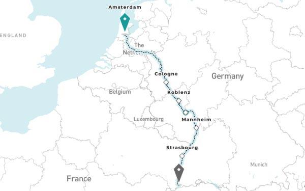 AMSTERDAM -  COLOGNE - KOBLENZ - RUDESHEIM AM RHEIN - MANNHEIM - STRASBOURG - BASEL