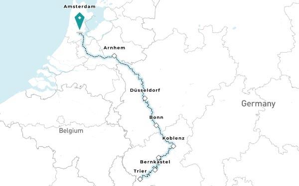 AMSTERDAM - DUSSELDORF - KOBLENZ AM RHEIN - BERNKASTEL - TRIER - COCHEM - BONN - ARNHEM - AMSTERDAM