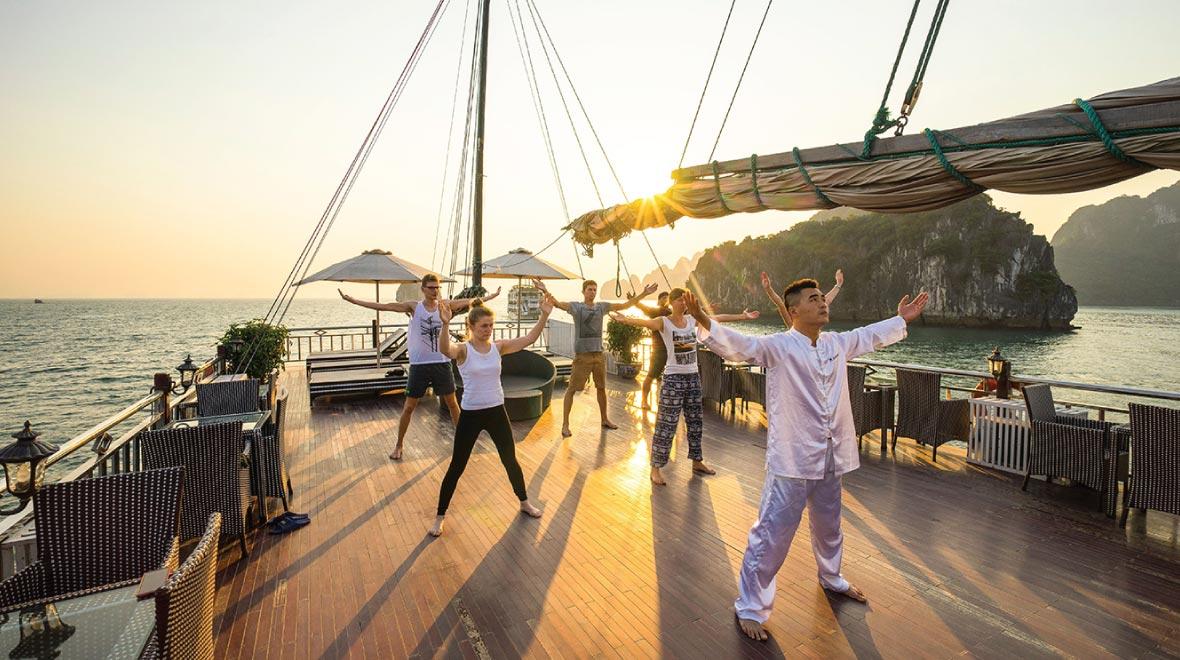 Tai Chi session ( cruise sundeck)