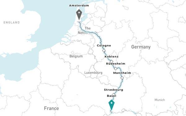 Basel - Strasbourg - Mannheim - Rudesheim - Koblenz - Cologne - Amsterdam