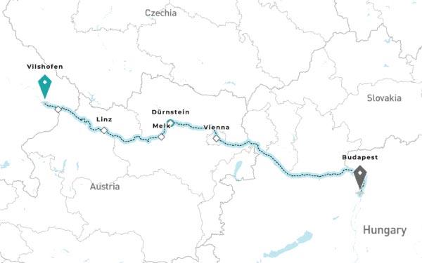 VILSHOFEN - LINZ - PASSAU - MELK - DURNSTEIN - VIENNA - BUDAPEST