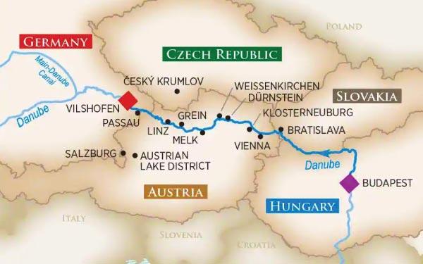 BUDAPEST -  BRATISLAVA - VIENNA - WEISSENKIRCHEN -  LINZ -  PASSAU - VILSHOFEN