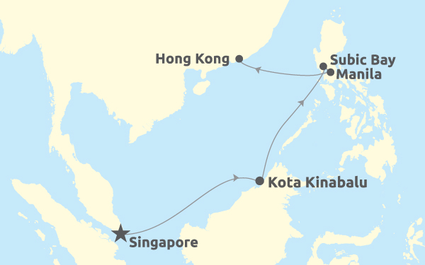 Singapore - Kota Kinabalu - Subic Bay - Manila - Hong Kong