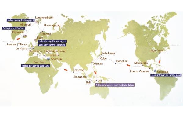 Singapore - Colombo - Port Said - Santorini - Piraeus - Cagliari (Sardinia) - Barcelona - Le Havre - London - Flam - Tromso - Honningsvag - Longyearbyen - Akureyri - Reykjavik - New York - Cristobal - Puerto Quetzal - Manzanillo - Honolulu - Yokohama
