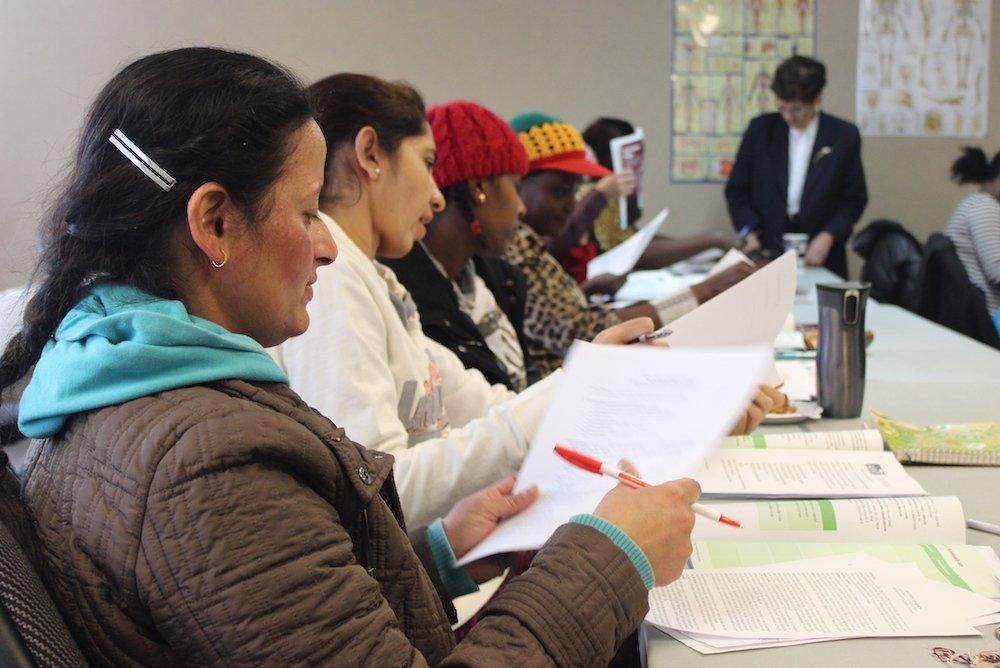 Job seekers reviewing information.