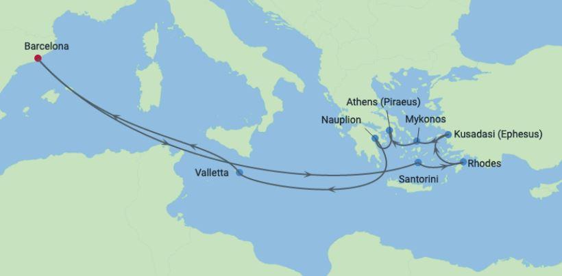 12 Night Spain, Malta & Greek Islands