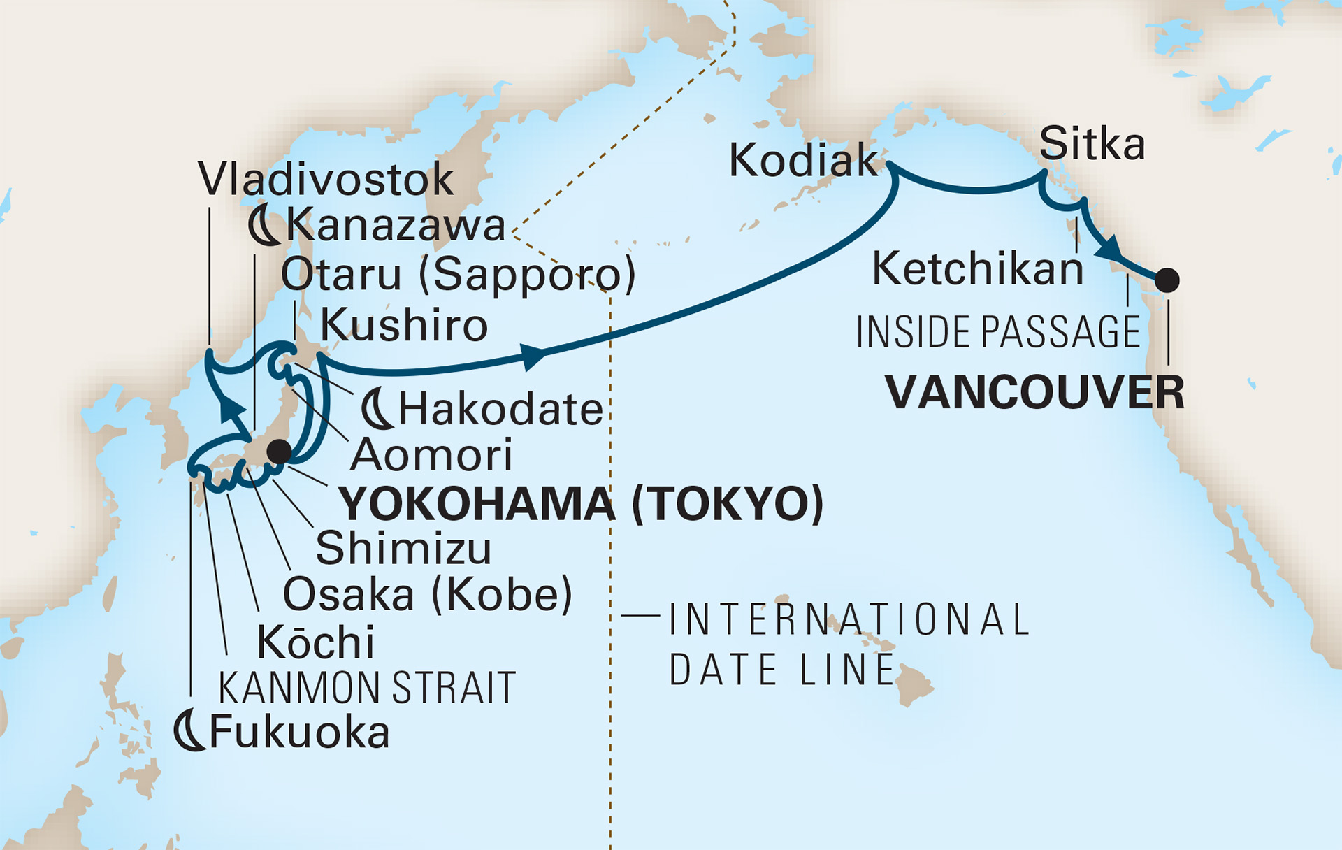 30 Night Japan, Russia & North Pacific Crossing