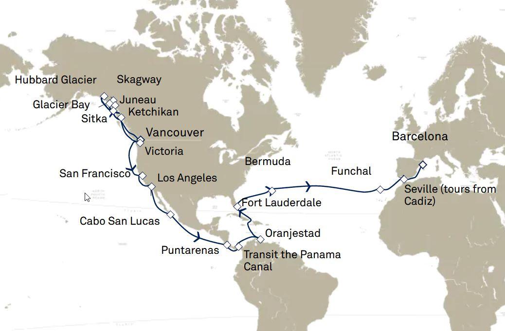 44 Night Alaska, Panama Canal & Transatlantic