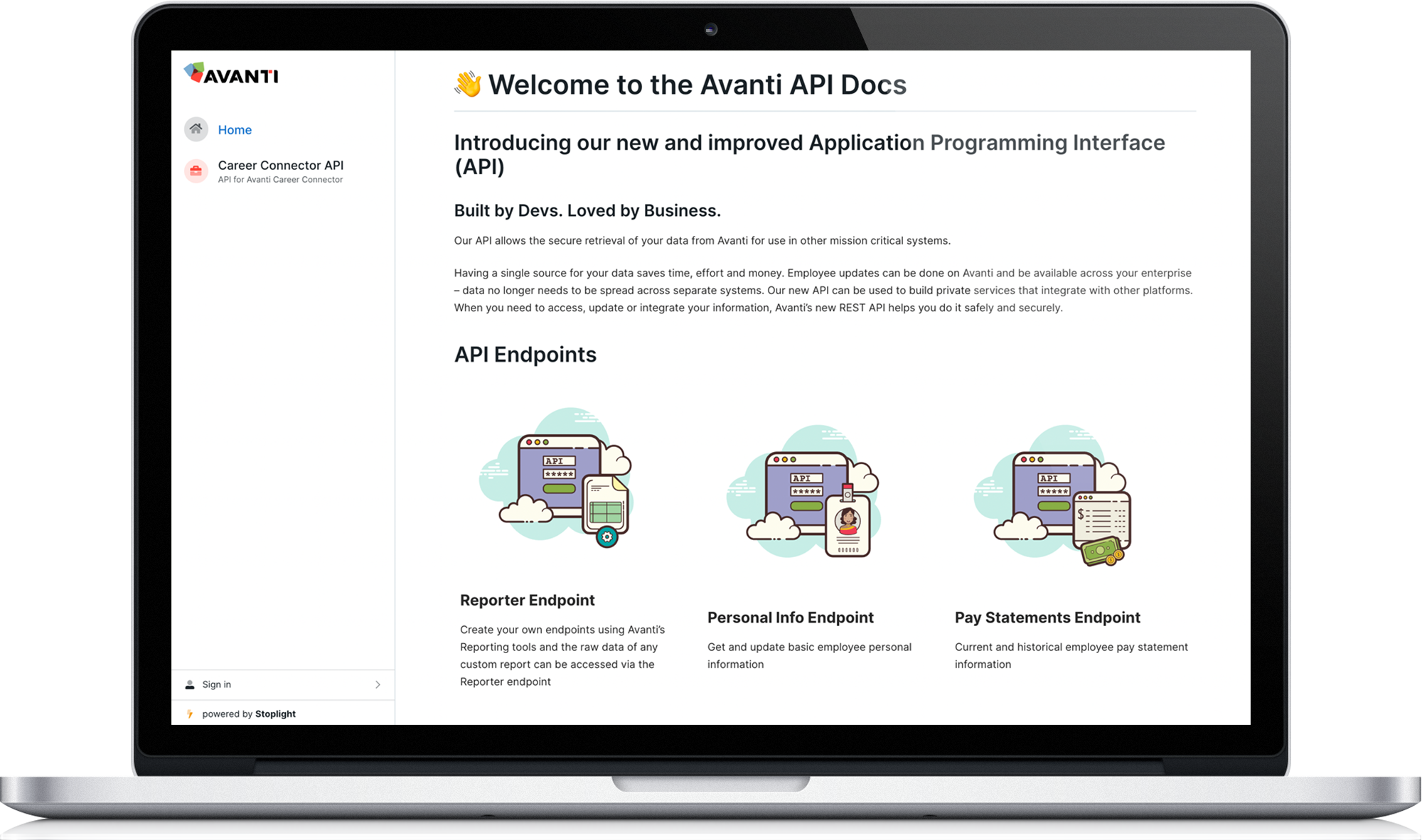 Avanti API Docs page screenshot