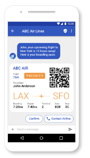 RCS message with flight info on the phone