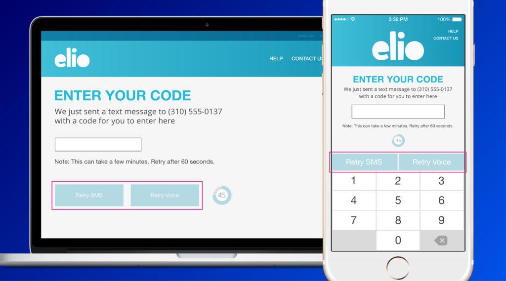 elio app phone code verification