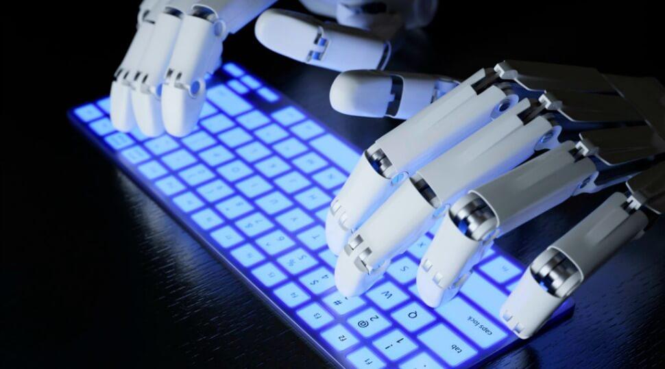 AI robot typing