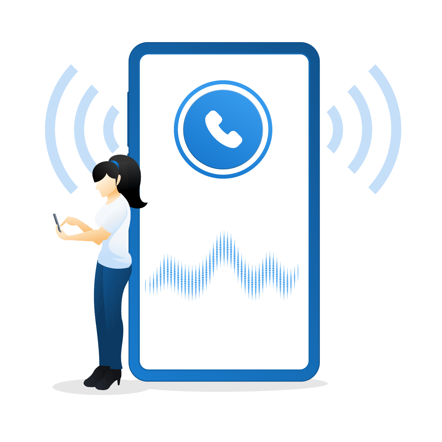 voice call on the phone connecting with customers
