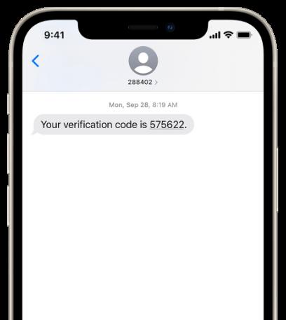 verification code sent as SMS