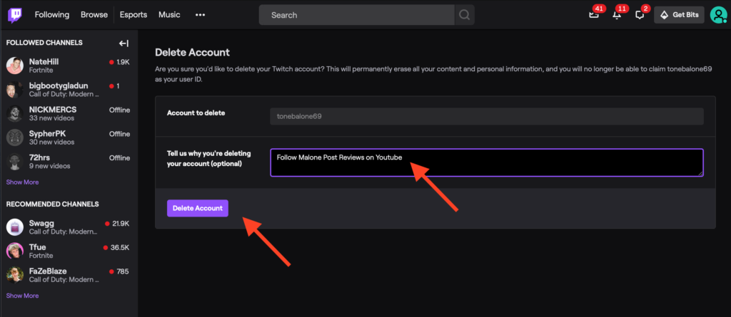 Delete Account button on Twitch