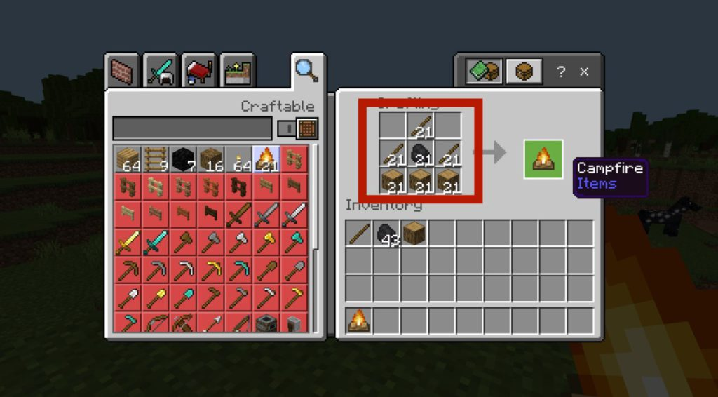 how-to-make-a-campfire-in-minecraft-step3