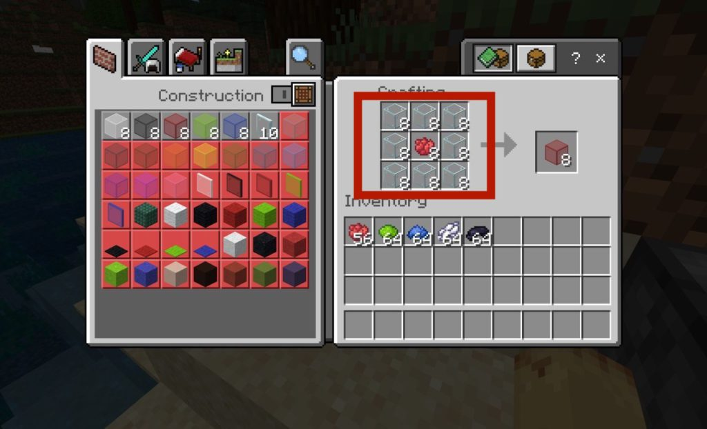 place 8 glass blocks on crafting table and 1 dye of any color
