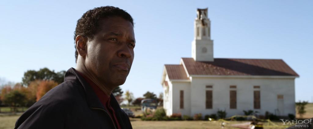 Denzel Washington outside of church
