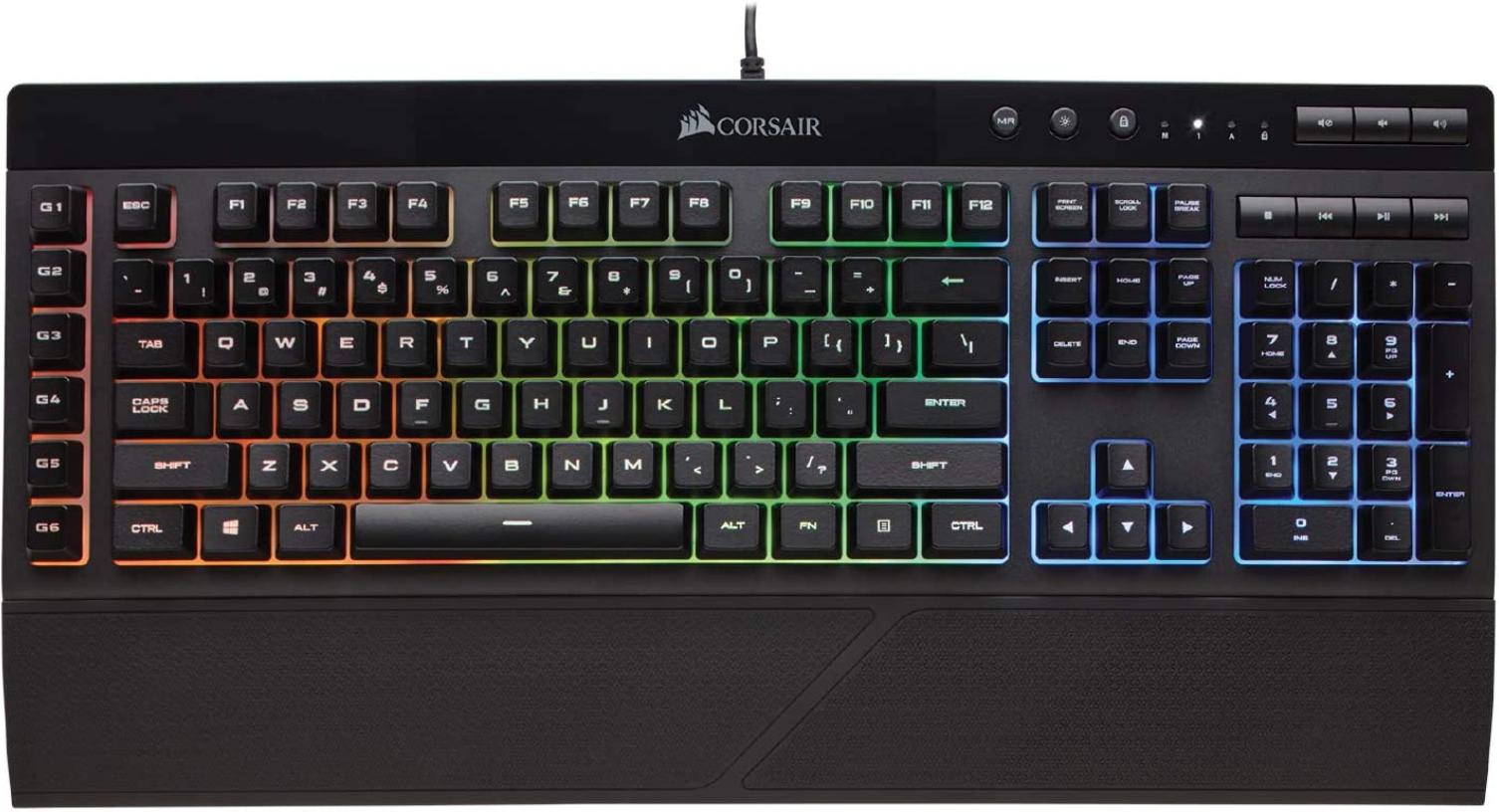 Corsair K55 Keyboard  with RGB lighting under keys.