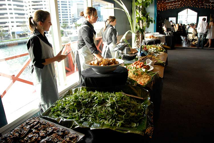 Buffet table at the Boatshed