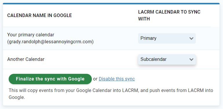 Sync your LACRM calendar with Google