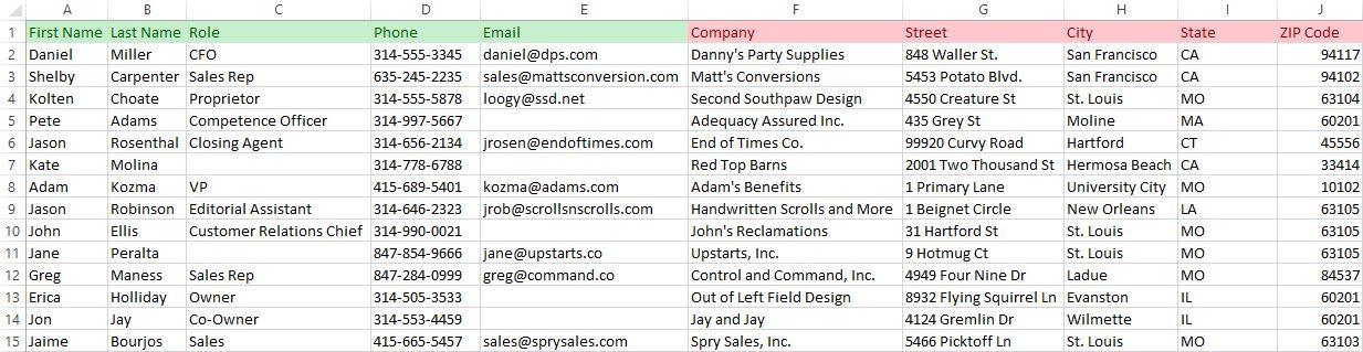 Importing spreadsheet screenshot