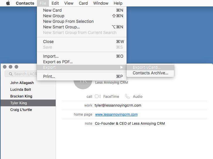 Exporting Mac Contacts