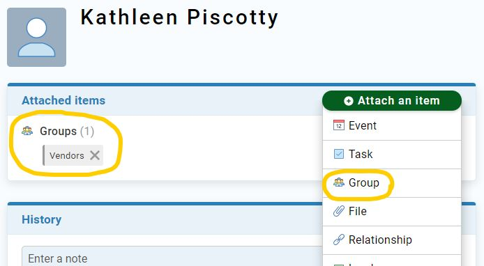 Less Annoying CRM adding a group