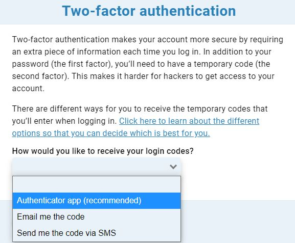 Two-factor authentication method