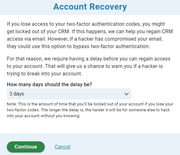 Account recovery timeline