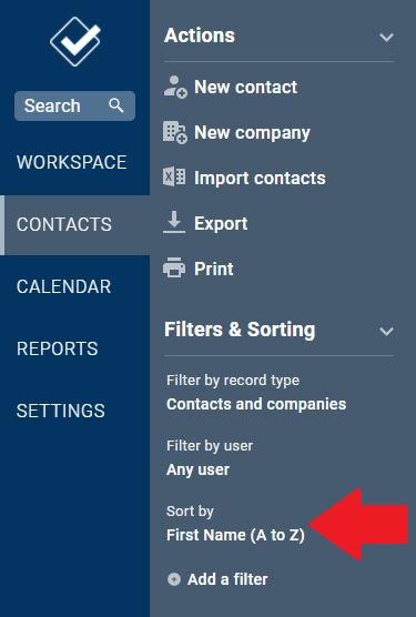 Contact page menu