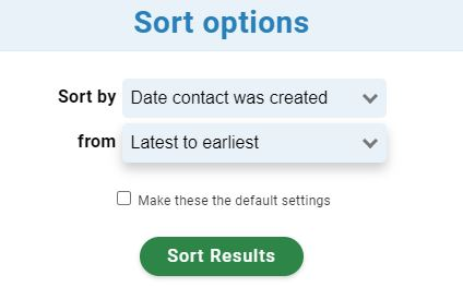 Contacts sorted by date created