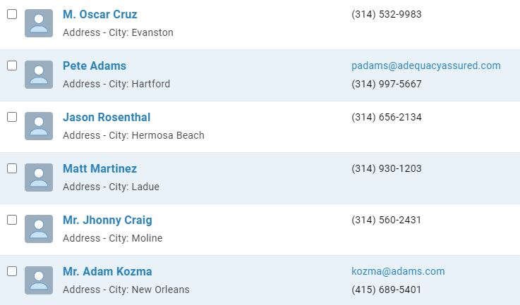 Contacts sorted by city
