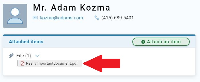 Contact with uploaded file