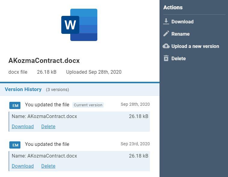 File history vieww