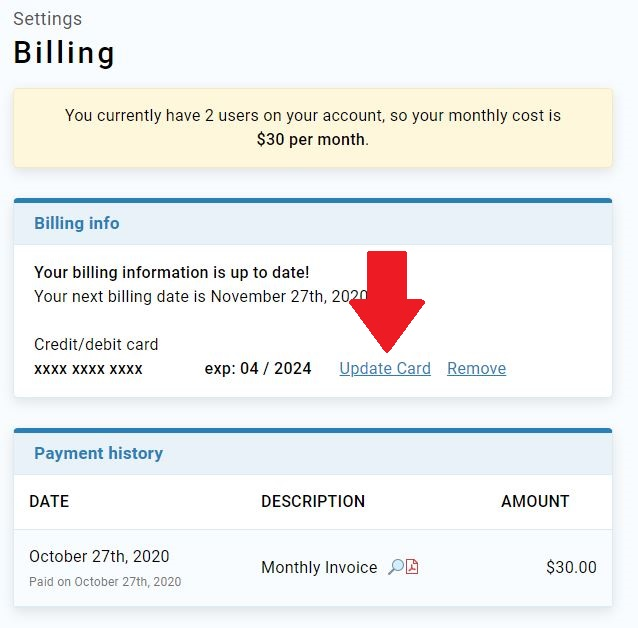 Billing page with Update Card link