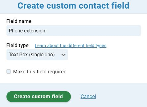 Custom field creation for phone extension
