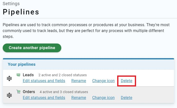 Pipeline Settings page