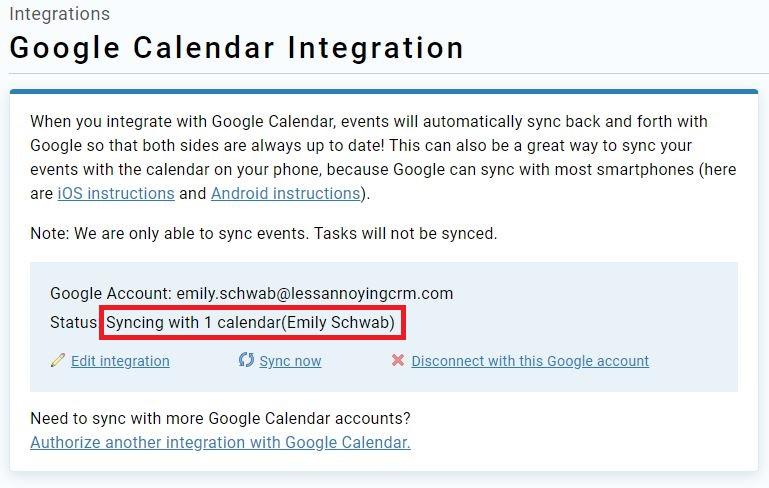 Google integration page after setup