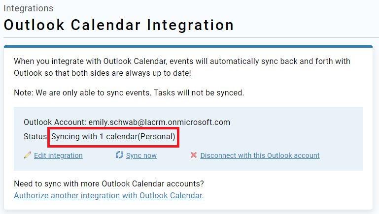 Outlook integration page after setup