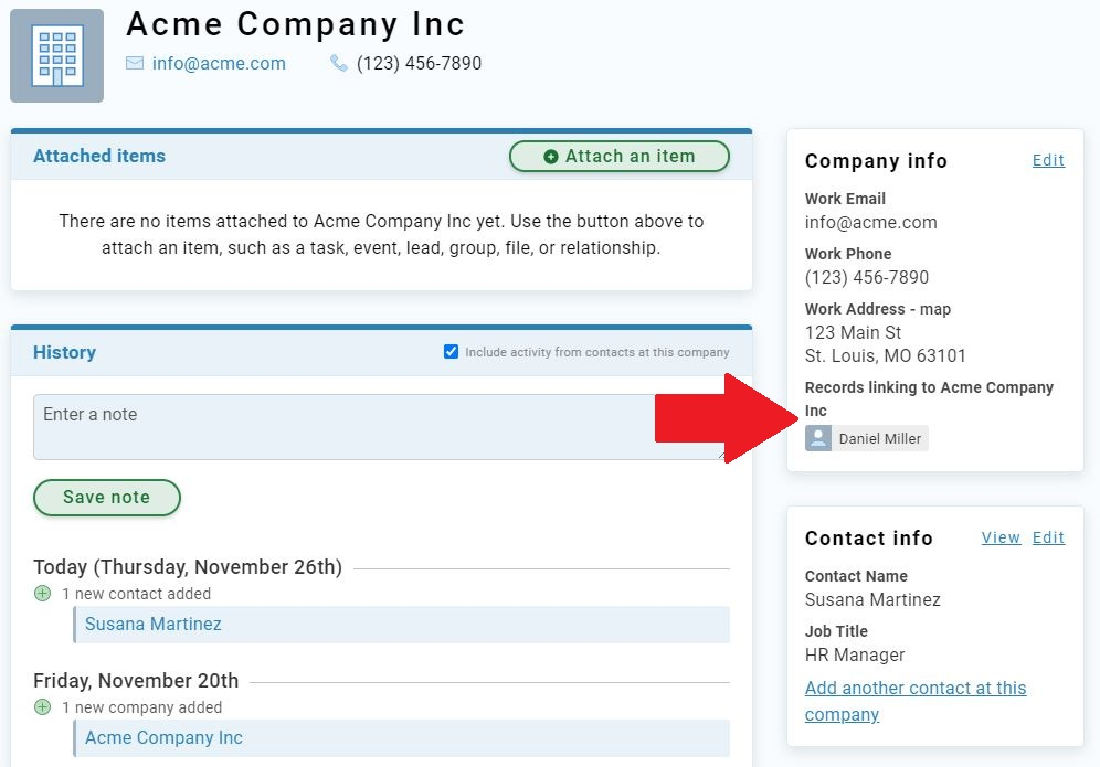 Company view of linked contact