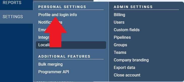 Profile and login info in the Settings menu