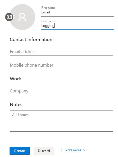 Outlook 365 contact creation